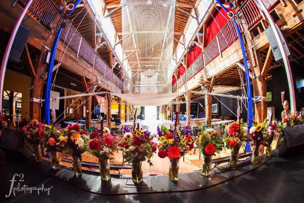 Wedding Flowers at Emerald City Trapeze Arts Circus Wedding Rustic Wedding Seattle