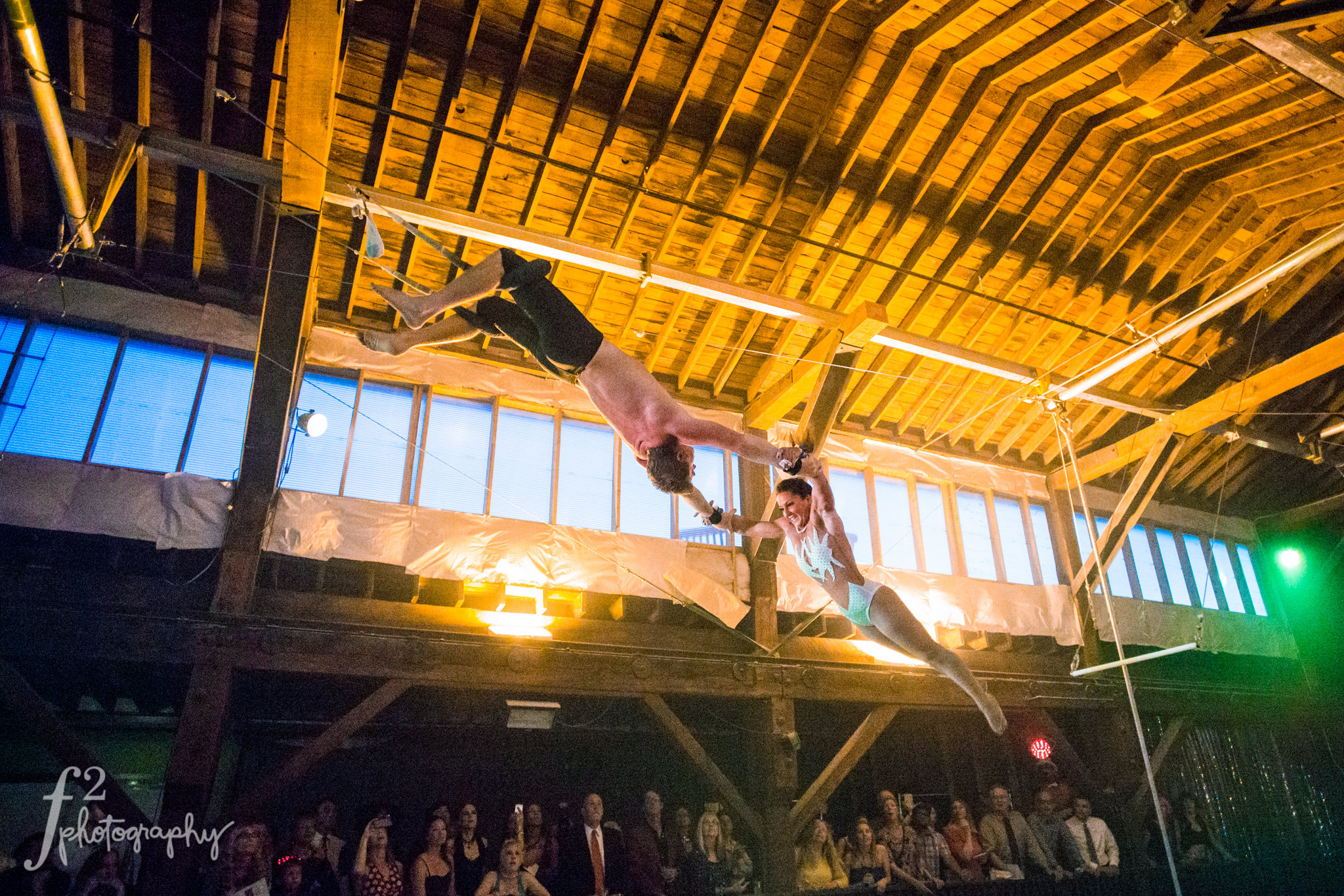 Flying Trapeze Performance at Weddings, Corporate Events, and parties at Emerald City Trapeze Arts