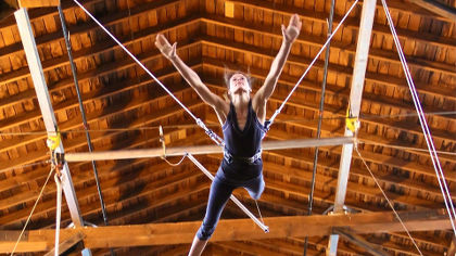 Girl Trying First Flying Trapeze class in Seattle