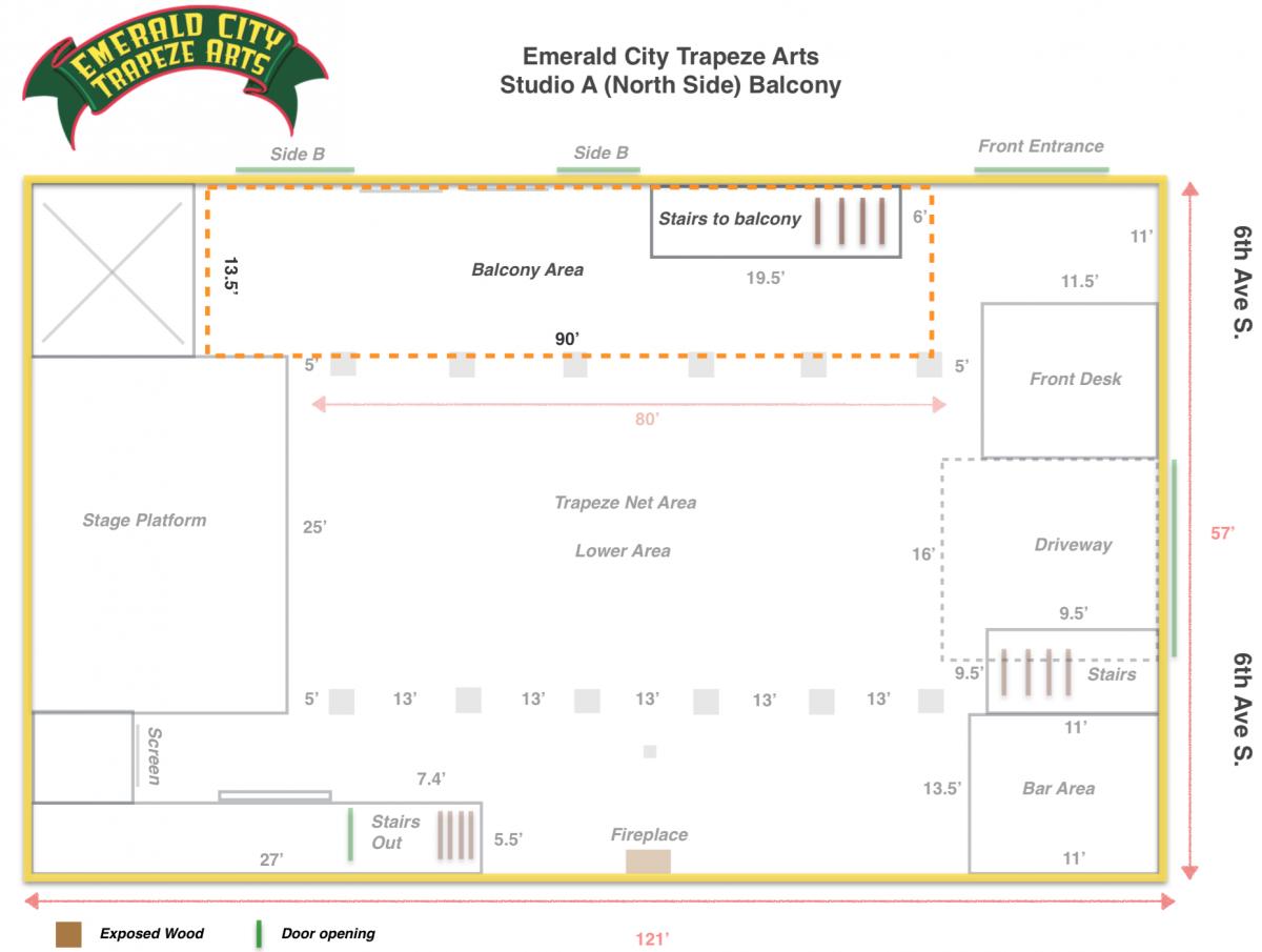 Emerald City Trapeze Studio A Floor Plan