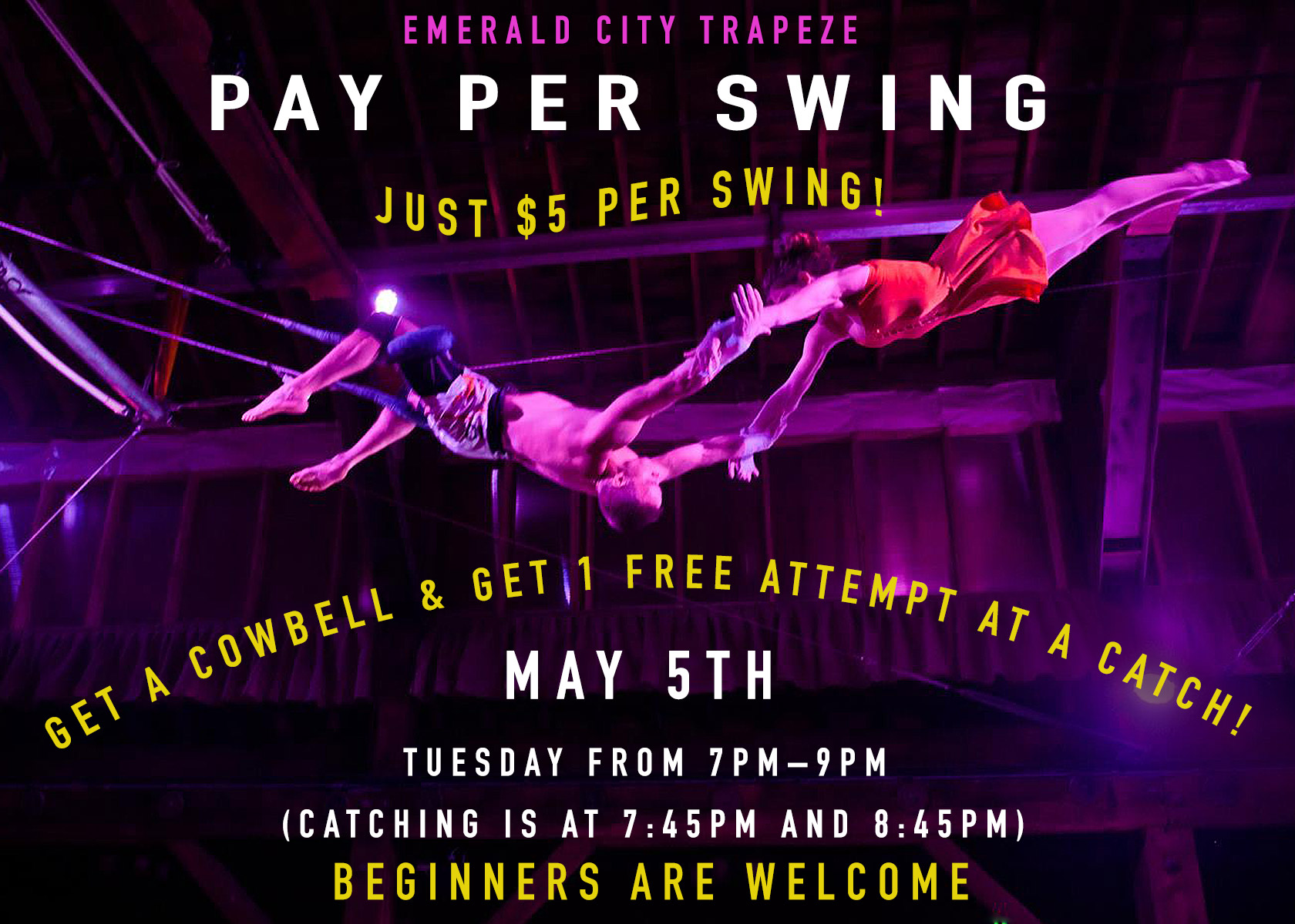 Emerald City Trapeze Pay Per Swing - Learn Flying Trapeze!