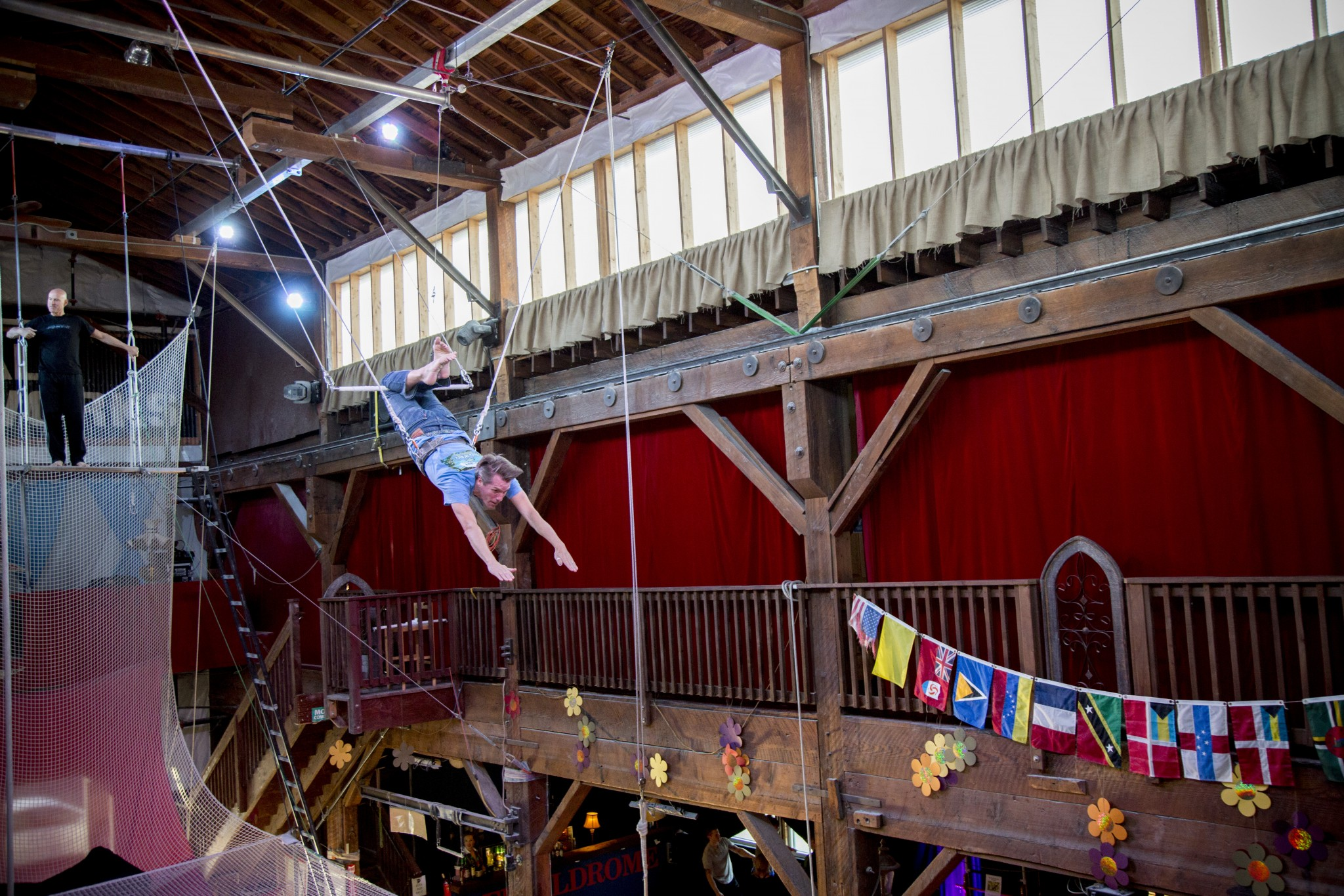 Swinging Flying Trapeze Class During an Event