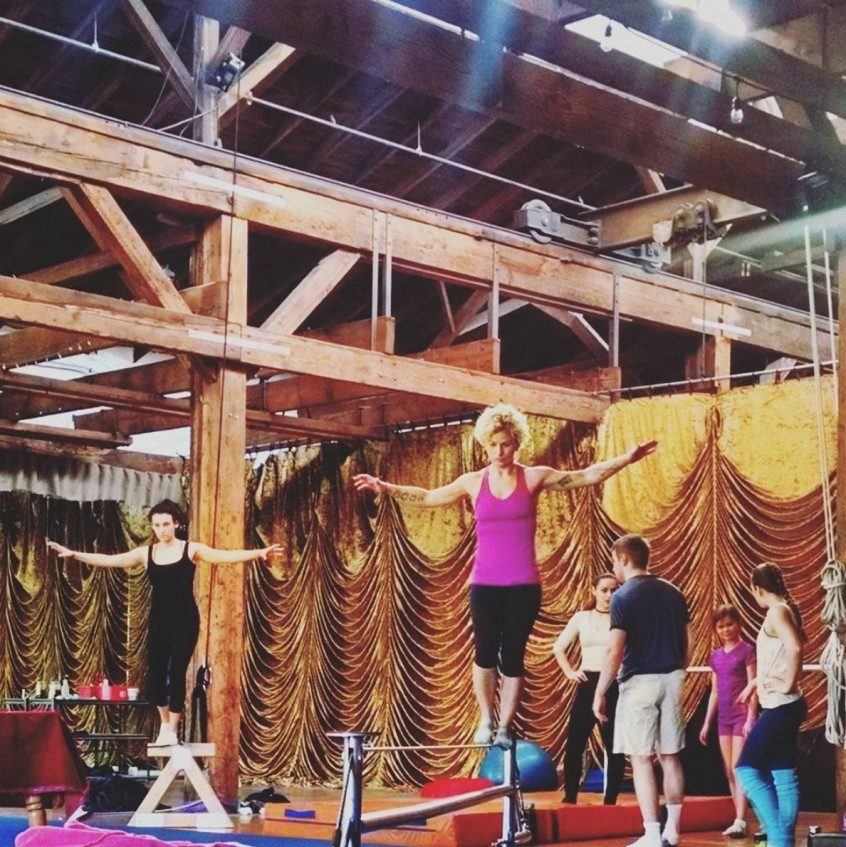 Wire Walking Emerald City Trapeze Arts in Seattle Tight Rope