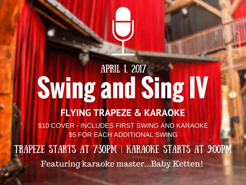 Swing and Sing Event at Emerald City Trapeze